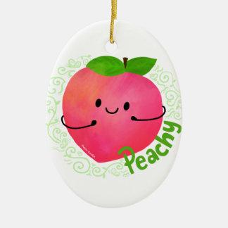 Ornamento De Cerâmica Chalaça positiva do pêssego - Peachy
