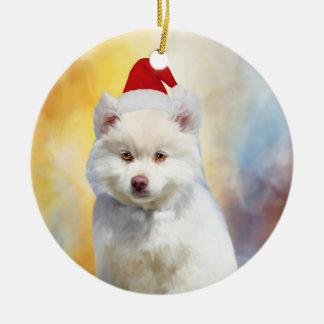 Ornamento De Cerâmica Chapéu americano do papai noel do Natal do cão
