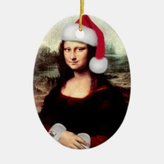 Ornamento De Cerâmica Chapéu do papai noel do Natal de Mona Lisa