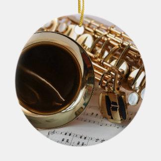 Ornamento De Cerâmica Chaves de Notenblatt do brilho do ouro da música