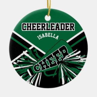 Ornamento De Cerâmica Cheerleader - verde escuro, preto e branco