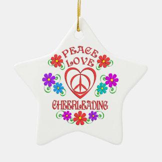 Ornamento De Cerâmica Cheerleading do amor da paz