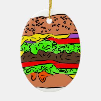 Ornamento De Cerâmica Cheeseburger