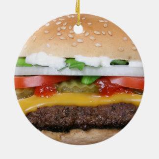 Ornamento De Cerâmica cheeseburger delicioso com fotografia das