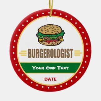 Ornamento De Cerâmica Cheeseburger engraçado do Hamburger