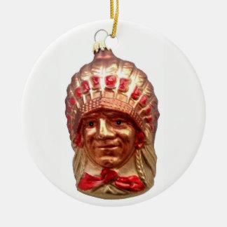 Ornamento De Cerâmica Chefe do nativo americano