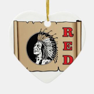 Ornamento De Cerâmica chefe vermelho grande