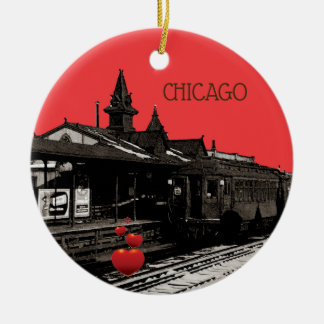 Ornamento De Cerâmica Chicago L metro 1950 da fotografia do Sepia da