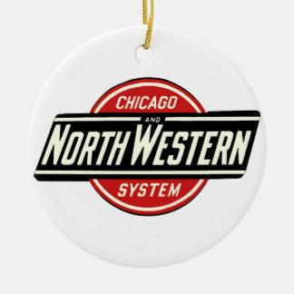 Ornamento De Cerâmica Chicago & logotipo do noroeste 1 da estrada de