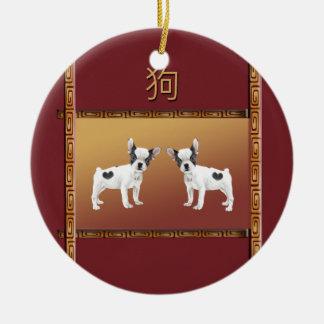 Ornamento De Cerâmica Chinês asiático do design dos terrier de Jack