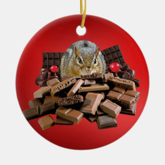 Ornamento De Cerâmica Chipmunk do chocolate do dia dos namorados