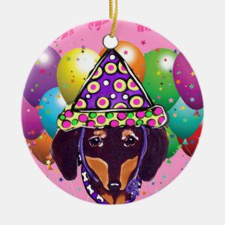 Ornamento De Cerâmica Chocolate Doxie