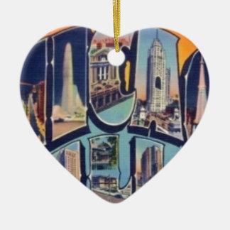 Ornamento De Cerâmica Cidade de Chicago do vintage