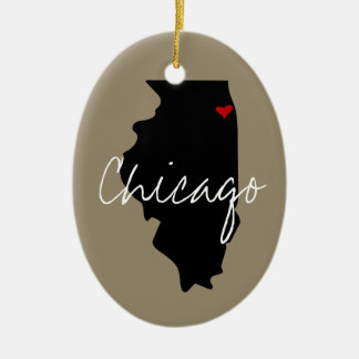 Ornamento De Cerâmica Cidade de Illinois