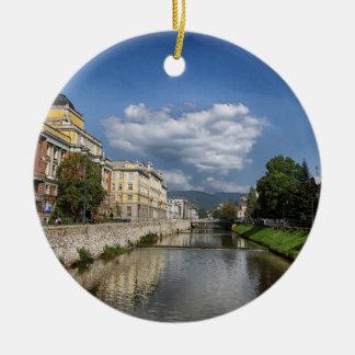 Ornamento De Cerâmica Cidade de Sarajevo, capital de Bósnia e