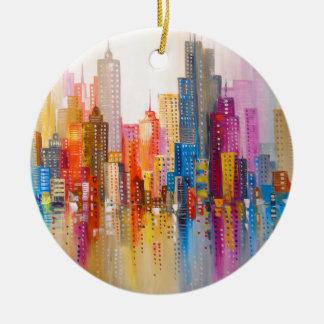 Ornamento De Cerâmica Cidade do arco-íris
