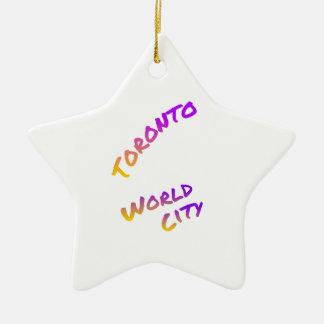 Ornamento De Cerâmica Cidade do mundo de Toronto, arte colorida do texto