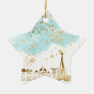 Ornamento De Cerâmica Cidade do Natal do ouro com nuvens azuis e brilho