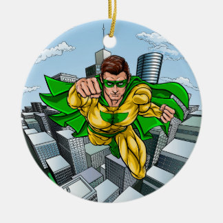 Ornamento De Cerâmica Cidade do super-herói do vôo da banda desenhada