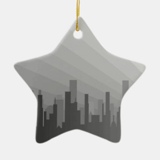 Ornamento De Cerâmica Cidade Greyscape