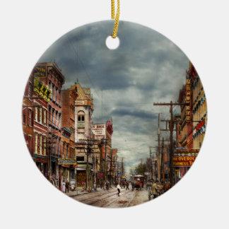 Ornamento De Cerâmica Cidade - NY - o mercado nunca em mudança 1906