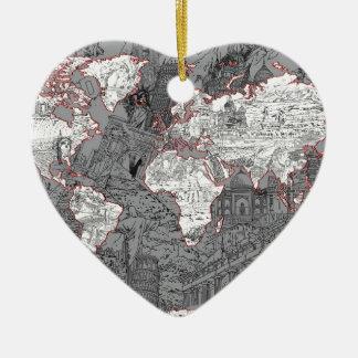 Ornamento De Cerâmica cinza do mapa do mundo