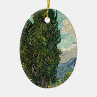 Ornamento De Cerâmica Ciprestes de Van Gogh
