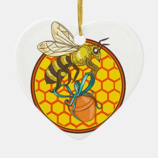Ornamento De Cerâmica Círculo da colmeia do pote do mel do carregando do