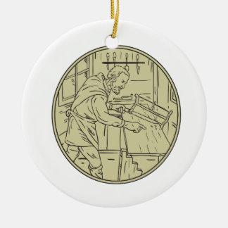 Ornamento De Cerâmica Círculo de madeira do Sawing medieval do