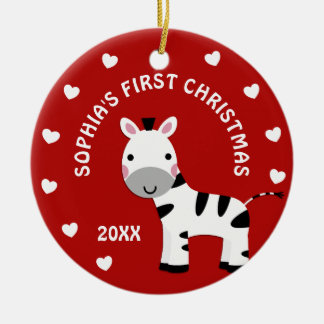 Ornamento De Cerâmica Círculo do presente do Natal do bebê da zebra do
