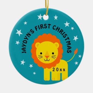 Ornamento De Cerâmica Círculo do presente do Natal do bebê do leão do