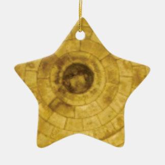 Ornamento De Cerâmica círculos de pedra amarelos
