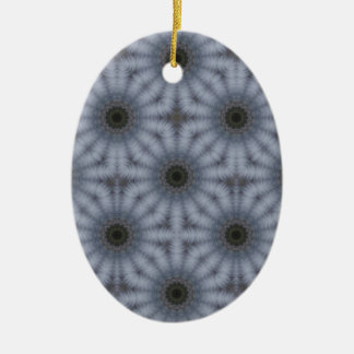 Ornamento De Cerâmica Círculos florais do caleidoscópio, cinzas
