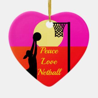 Ornamento De Cerâmica Citações do Netball do amor da paz do atirador do