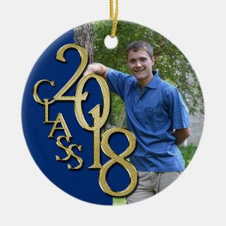 Ornamento De Cerâmica Classe 2018 azul e foto graduada do ouro