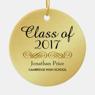 Ornamento De Cerâmica Classe elegante do ouro de Natal da graduação