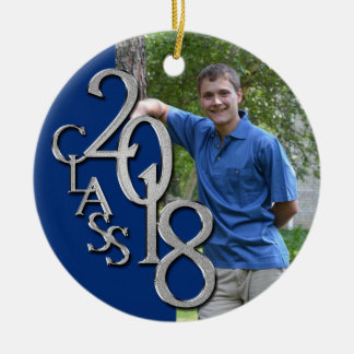Ornamento De Cerâmica Classe foto graduada azul e de prata de 2018
