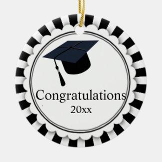 Ornamento De Cerâmica Classe preto e branco de graduação