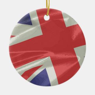 Ornamento De Cerâmica Close up de seda da bandeira de Union Jack