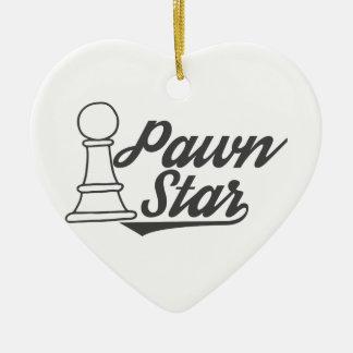 Ornamento De Cerâmica clube de xadrez da estrela do penhor