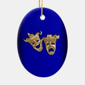Ornamento De Cerâmica Cobalto das máscaras do teatro da comédia e da