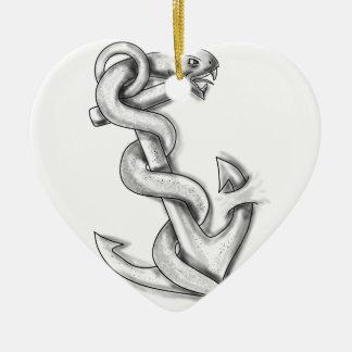Ornamento De Cerâmica Cobra de Asclepius que ondula acima no tatuagem da