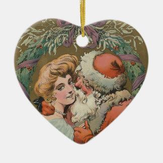 Ornamento De Cerâmica Cobrir 1905 do disco do papai noel