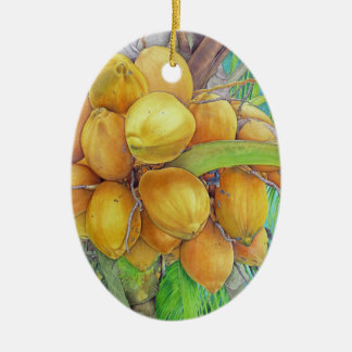 Ornamento De Cerâmica Cocos dourados