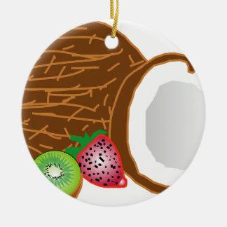 Ornamento De Cerâmica Cocos tropicais do quivi