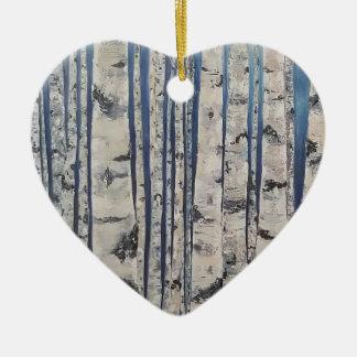 Ornamento De Cerâmica Código Morse das árvores de vidoeiro
