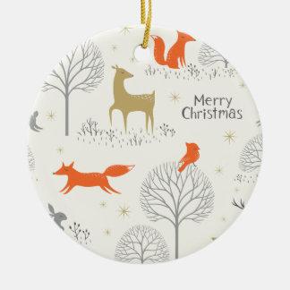 Ornamento De Cerâmica Coelho bonito dos cervos da floresta do Natal -