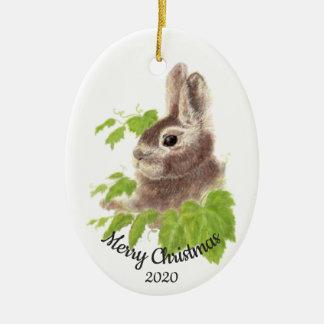 Ornamento De Cerâmica Coelho de coelho feito sob encomenda da aguarela