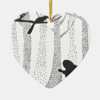 Ornamento De Cerâmica Coelho e pássaro