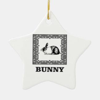 Ornamento De Cerâmica coelho preto e branco
